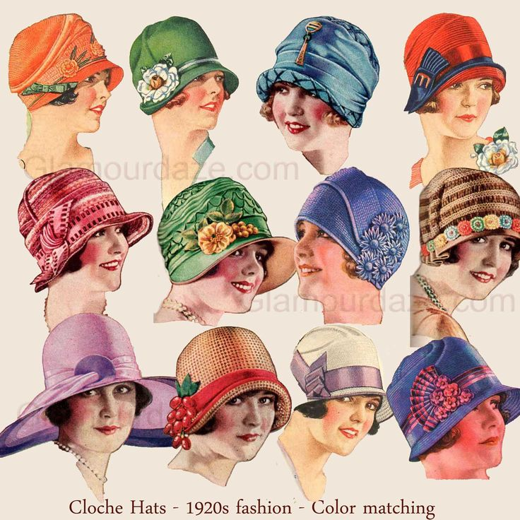 """1920′s Fashion – Illustrated 1928 dress guide for an average girl."": ""Cloche Hats - 1920s fashion - Color matching,"" ""There used to be a standard color table. Blondes wore blue or pink, brunettes wore brown or yellows. So much so that by observing her gown you could forecast the color of her complexion. Today we know better."""