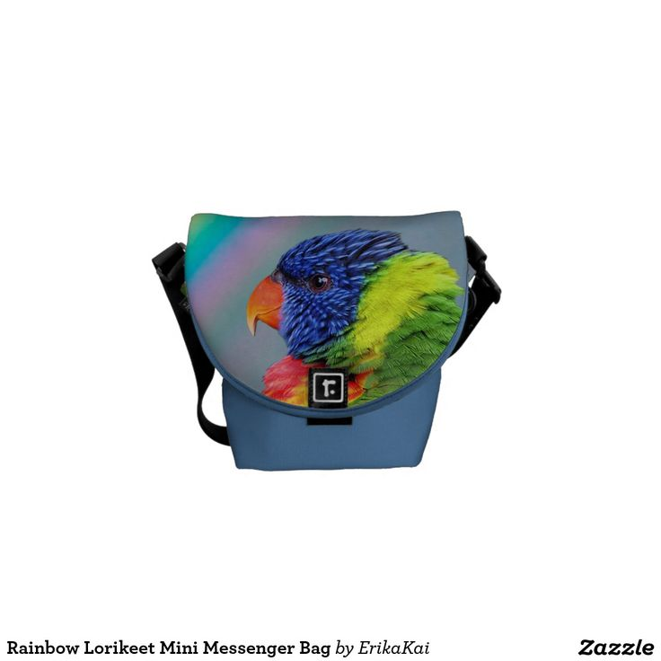 Rainbow Lorikeet Parrots Mini Rickshaw Messenger Bag. Water resistant, extra durable. Interior and binding 20 color options.