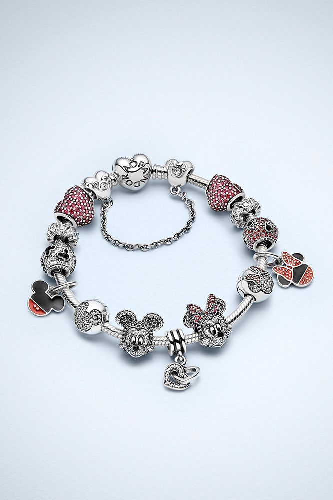 Create a bracelet with charms symbolizing Minnie and Mickey's sparkling love story. #PANDORAlovesDisney