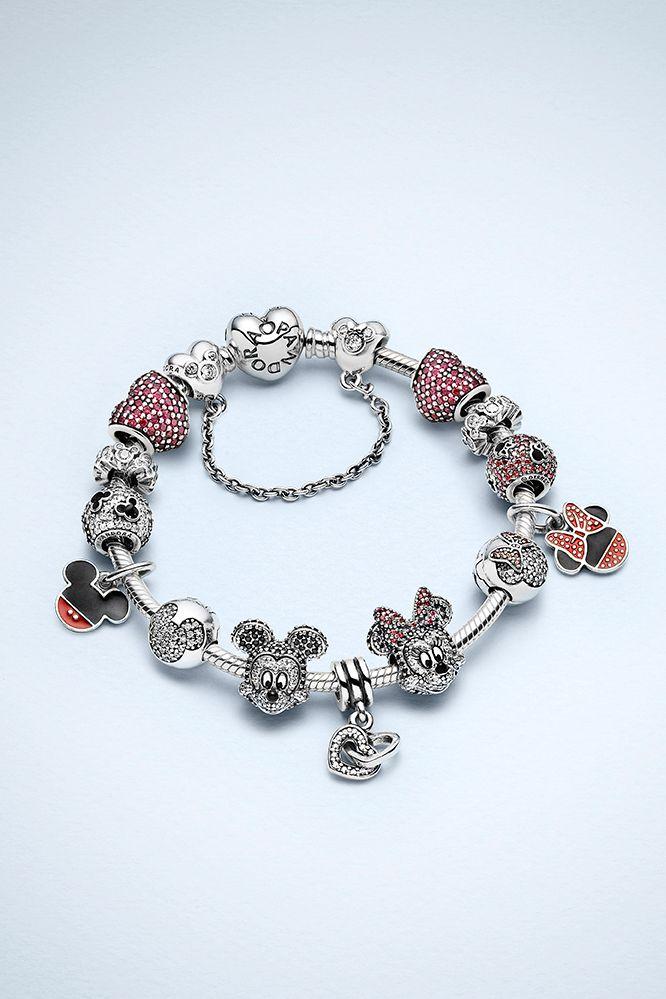 Create a bracelet with charms symbolizing Minnie and Mickey's sparkling love story. #PANDORAlovesDisney