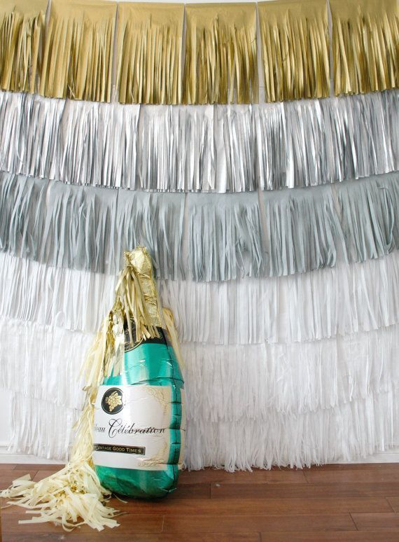 New Years Eve Backdrop Fringe Curtain, Silver and Gold ...