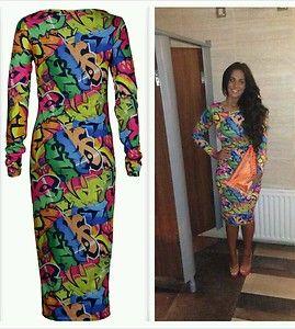 As seen on Vicky Geordie Shore, Graffiti Midi Dress Size M/L Brand New