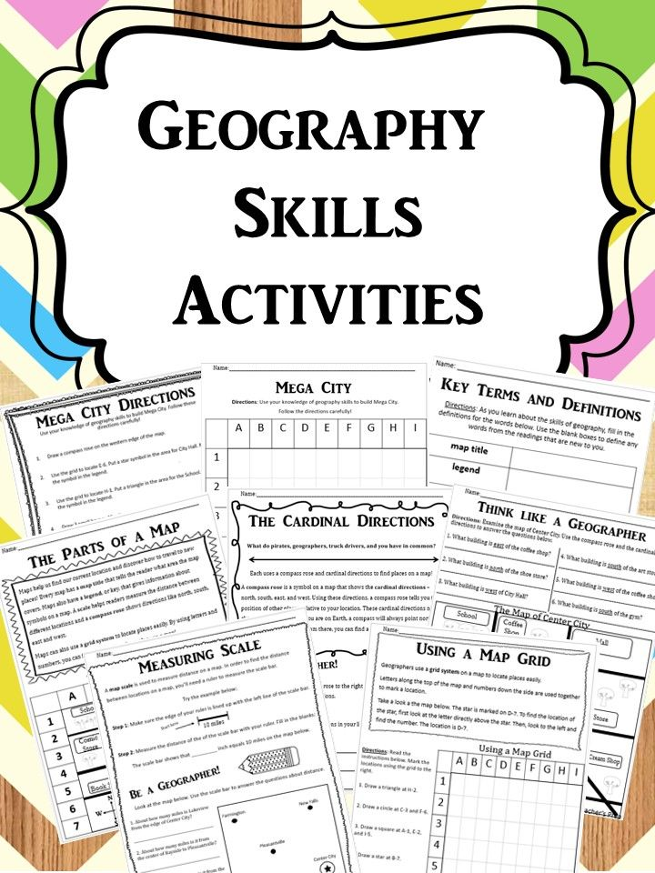 By using these Geography Skills Activities, your students will learn the basic tools of geography including cardinal directions, map grids, measuring map scales, the parts of a map, and more! (Answer keys included!) #geography #mapping