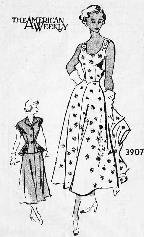 1940s Flattering Sun Dress and Peplum Jacket Pattern American Weekly 3907 Lovely Day or Cocktail Evening Dress Low U Shape Neckline and Back Flirty Peplum Jacket Bust 34 Vintage Sewing Pattern