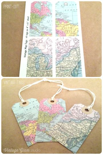 Free Digital Embellishments - Vintage Map Tags and Brads