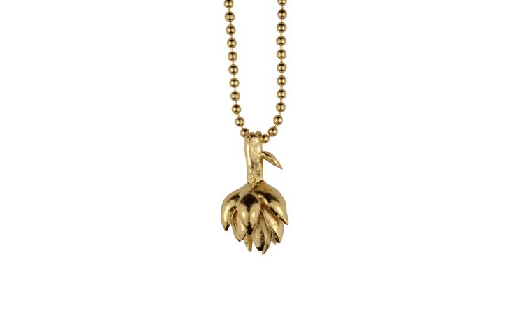Gold plated artichoke necklace  Gold plated silver