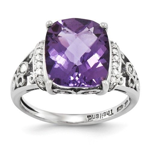 - Material: .925 Sterling Silver Width of Item: 2 mm - Rhodium-Plated Stone Type: Amethyst Stone Creation Method:Natural Stone Treatment:Heating Stone Shape:Cushion Stone Color:Purple Stone Cut:Checke