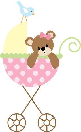 Dibujos - Clipart - Digi stamp - Pink Baby Carriage - Minus