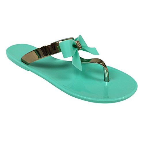 VeeVee Womens Jelly Sandals With Bow and Metallic straps  Mint  Medium -- You can find out more details at the link of the image.