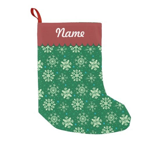 Personalized Christmas Green & White Snowflake Pattern Stocking. Designed by Kristy Kate www.kristykate.com