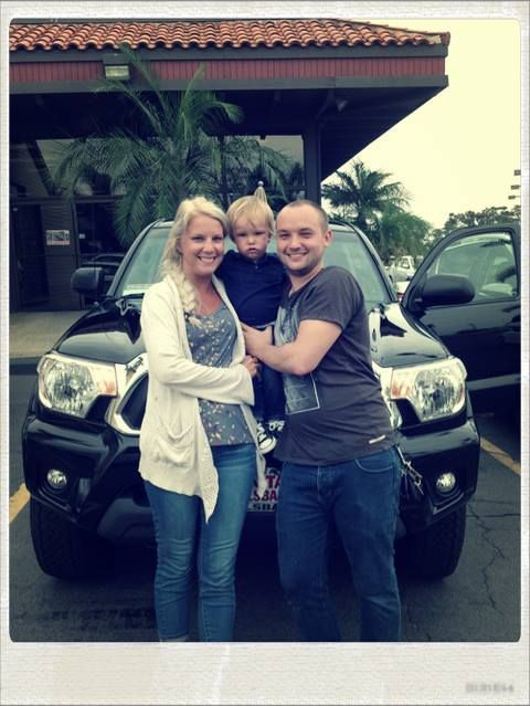 Someone looks excited for their new Toyota Tacoma  Congrats! Have fun!