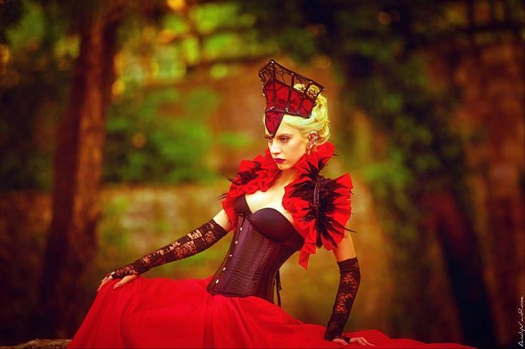 #red #black #lace #gothic #victorian #queen #costume #crown , #red #taffera #shrug #feather #bolero , #black #underbust #corset , #red #taffeta #high #waist #closs #mai #skirt by #mysticthread-www.mysticthread.com/ Model #ΦαιηΛαιμου /  Photo: #AndyVanRose