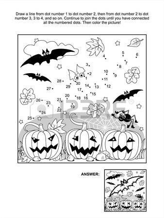 Collegare il puntini foto puzzle e colorare - Scena di Halloween con i pipistrelli, zucche, ragno e ragnatela Risposta inclusi