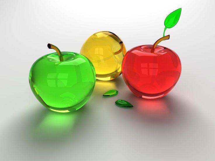 Обои для рабочего стола яблоки стеклянные