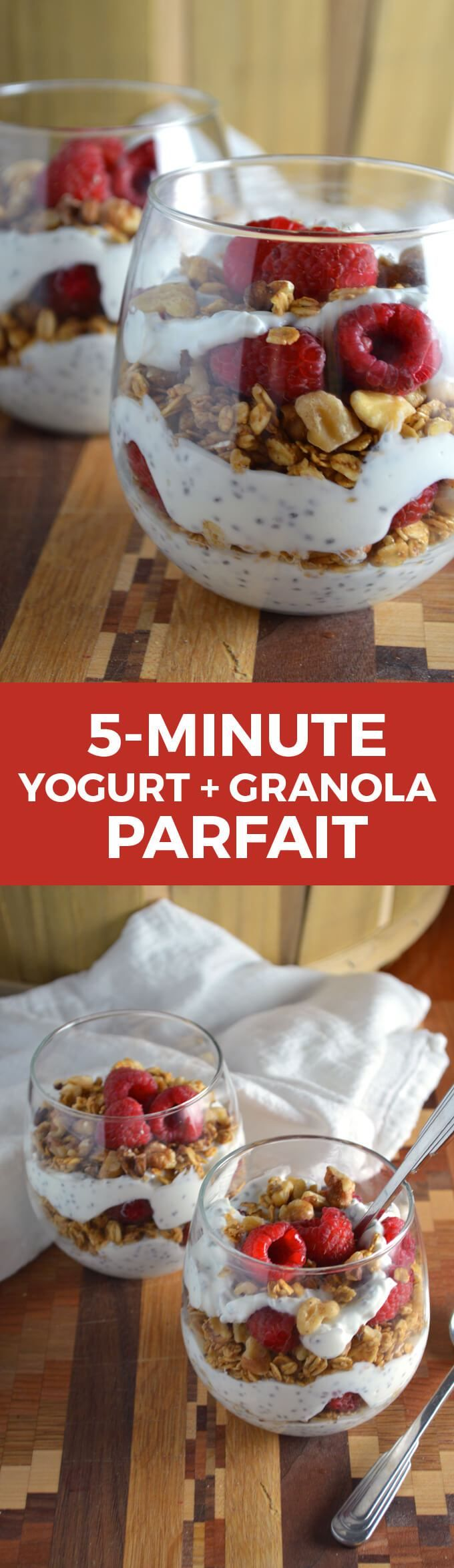 5-Minute Yogurt + Granola Parfaits -- take your cold breakfasts to the next level!