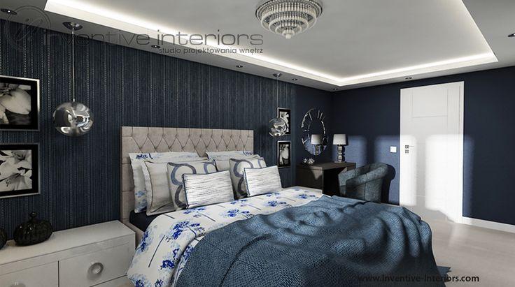 Projekt sypialni Inventive Interiors - klasyczna sypialnia w ciemnym wydaniu - granat w sypialni