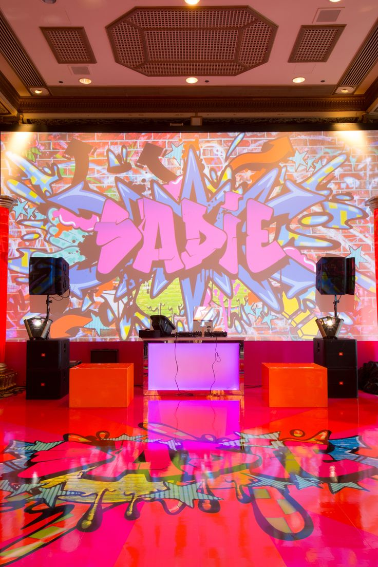 Tags bar and bat mitzvah event decor themes venues -  Bat Mitzvah Ideas See More Partyslate Com Graffiti Party This Overall Shot Shows Off The Awesome Graffiti Art On