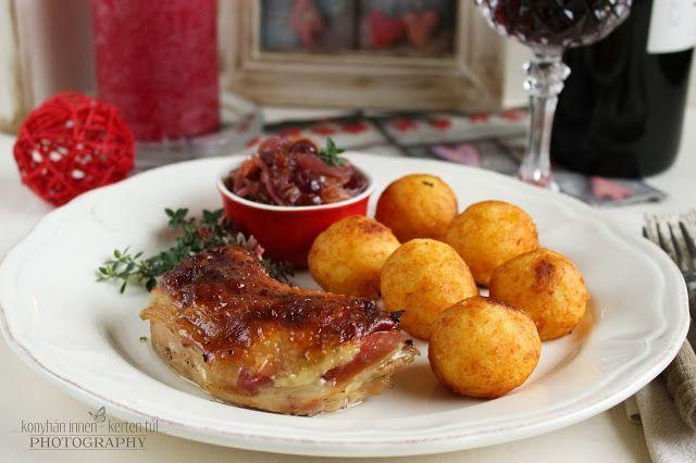 ...konyhán innen - kerten túl...: Csirkesült gyümölcsös lilahagyma lekvárral és sajtos burgonyagombóccal