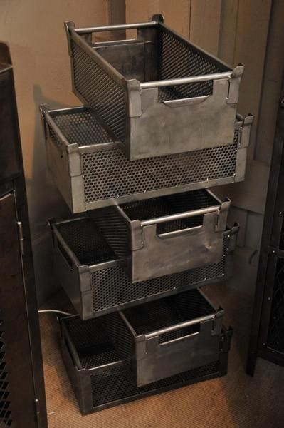 Love these metal bins.  No price listed...probably means I can't afford them.