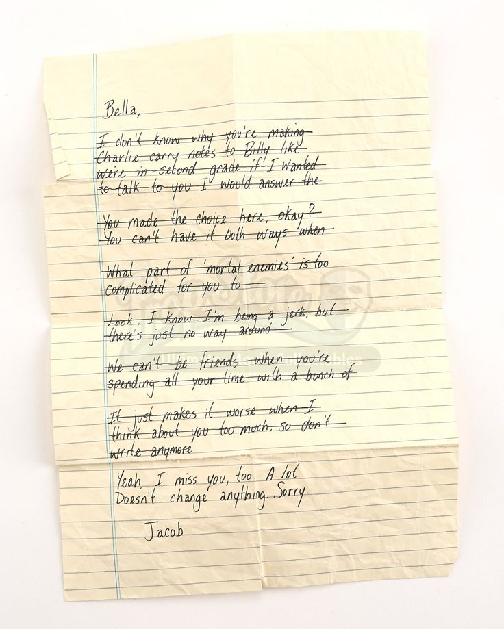 Jacob Black's Letter to Bella - Current price: $650