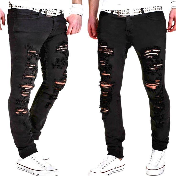 Ripped Jeans for Men 2017 Brand New Solid Color Skinny Biker Jeans Fashion  Designer Clothing Denim