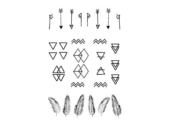 Minimal Geometric Mini Tattoos by DrawAbidingCitizen on Etsy, £4.00