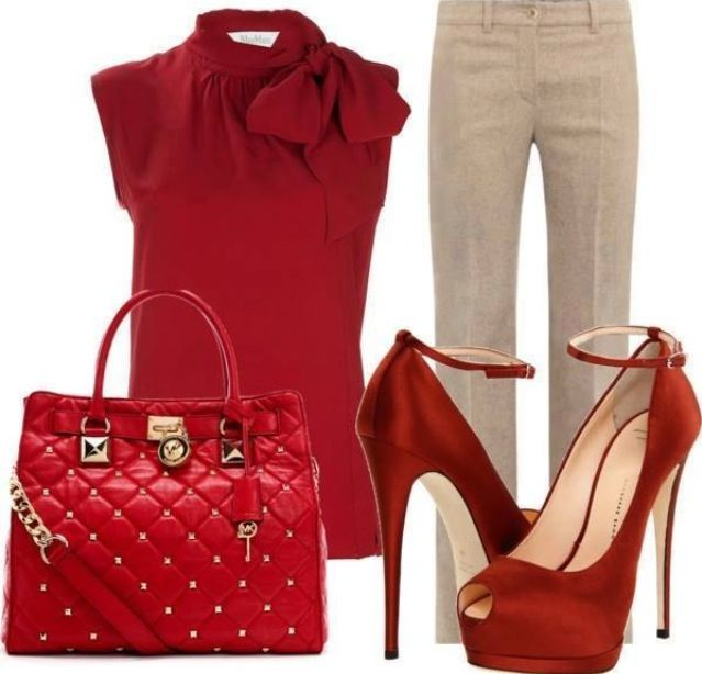 Red top beige pants outfit. Of course I love the red but I couldn't do the shoes...replace them with red flats.