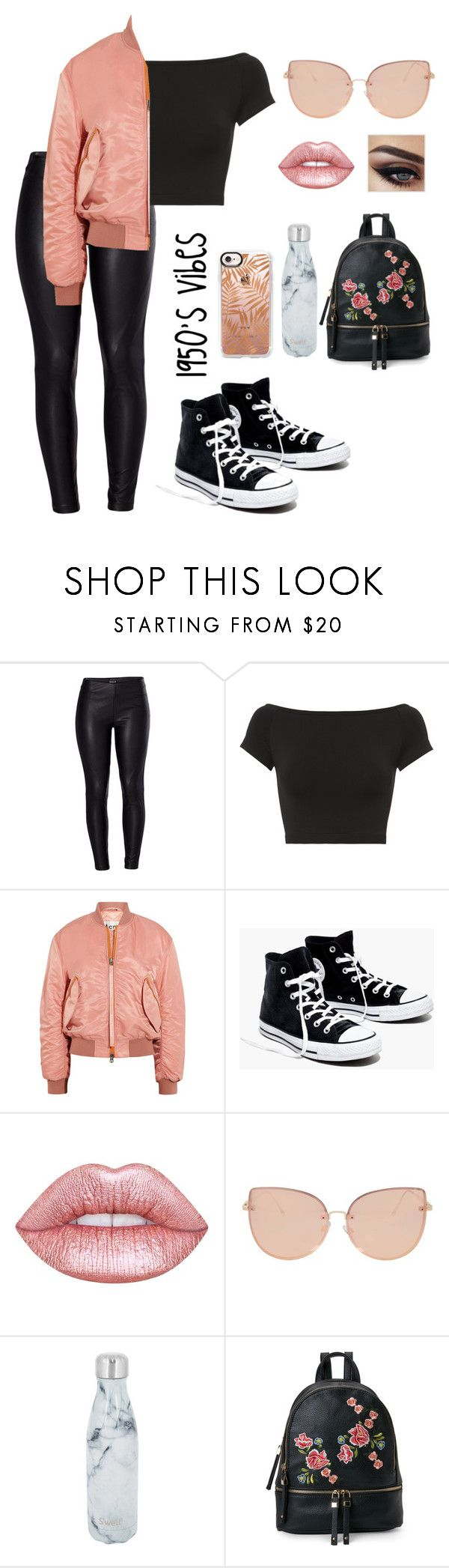 1950's Vibes by writersblockproblems on Polyvore featuring Helmut Lang, Acne Studios, Venus, Madewell, Urban Expressions, Topshop, Casetify, Lime Crime and S'well