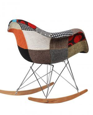 Charming Creative Patchwork Rocking Chair With Soft Fabric And That Have Arm Plus Metal Solid Frame Legs Plus Twin Curved Wooden Foot Highly Recommended For Your Living Room
