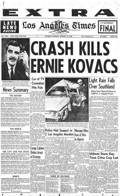 News of Ernie's death