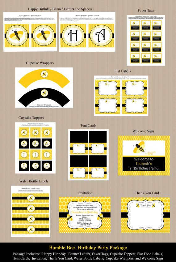 Bumble Bee Birthday Party Package 2 invitation by Honeyprint, $35.00