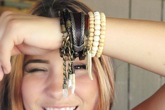 Crystal Quartz Leather Bracelet Unisex by WildPeopleFreeSpirit, $27.00