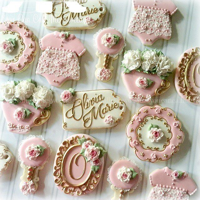 Victorian tea party themed baby shower cookies welcoming baby Olivia Marie :) #decoratedcookies #decoratedcustomcookies #customsweets #customcookies #cookiesofinstagram #instacookies #cookielove #cookiefun #cookieart #sugarart #edibleart #babyshowercookies #babyshower #olivia #oliviamarie #victorian #teaparty