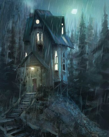 Gosh, I love this whole feel of the artwork.   A house in the rainy night. Available in 2 sizes. Product details: - Printed on high-quality, heavy-weight paper - Ready to be framed - True color reproduction - All prints signed by artist - Shipped