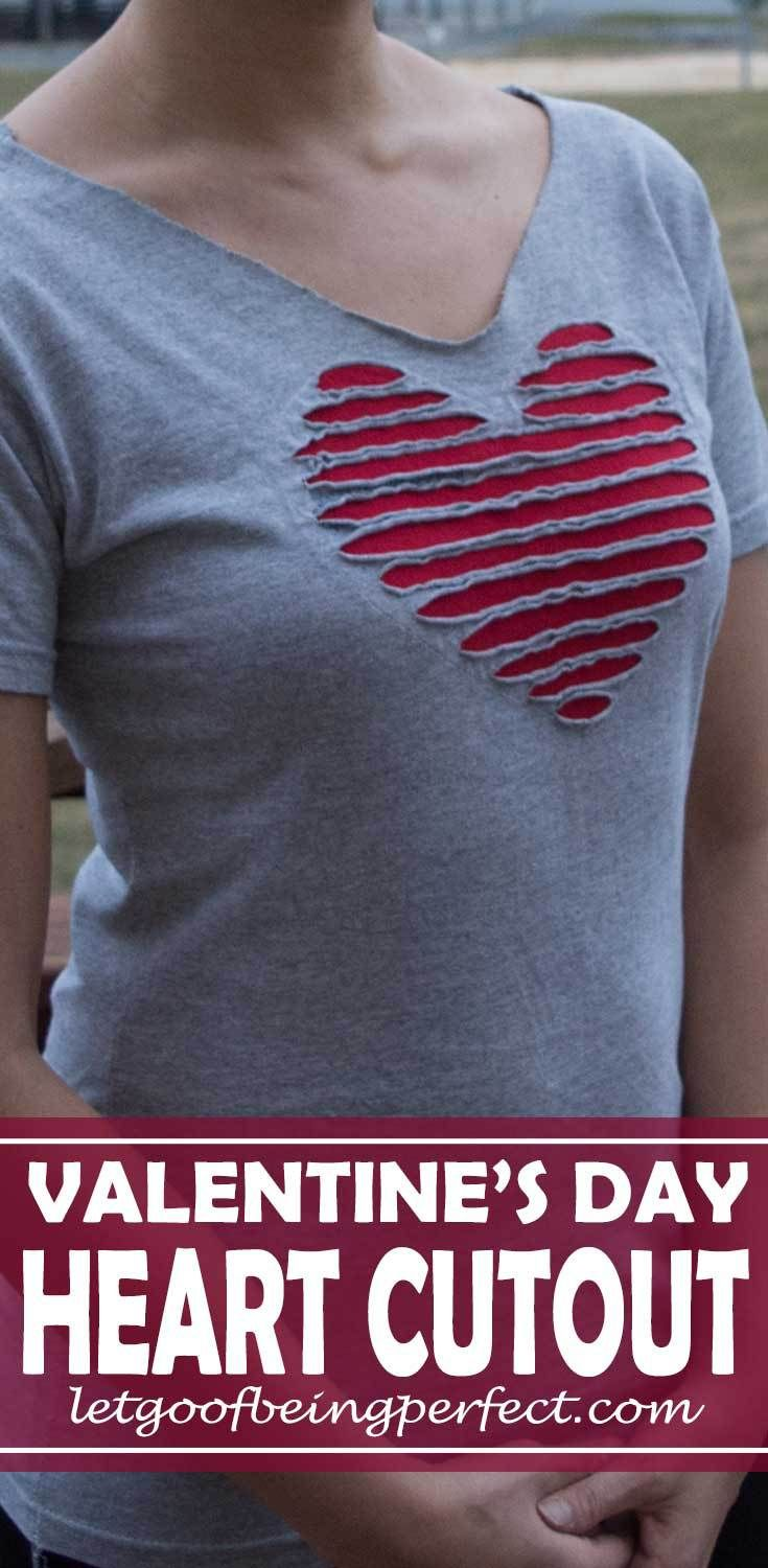 Refashion a Faded T-Shirt Into a Heart Cut-Out for Valentine's Day - Refashion / upcycle those t-shirts with a a few snips and lace for the day of love. Step-by-step DIY sewing tutorial for upcycling clothes into some other type of clothing or accessory. Remake, redo, reuse, and recycle to help save money and save the planet. Explore the web site for more refashioning tutorials, dozens of cute refashionista and fashion ideas with good, clear photos and instructions…