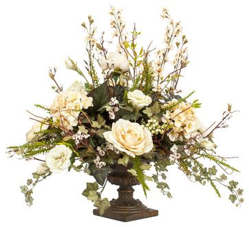 Silk Floral Arrangement in Bronze Urn traditional artificial flowers I like this alot!  $449