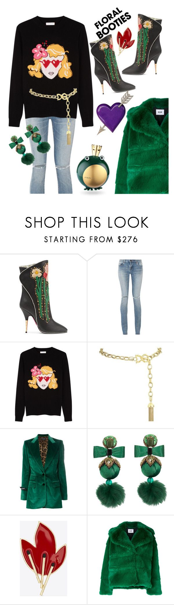 """Glam up your jeans"" by ellenfischerbeauty ❤ liked on Polyvore featuring Gucci, Yves Saint Laurent, Chinti and Parker, Dolce&Gabbana, Ranjana Khan, MSGM, dolceandgabbana, darkflorals and gucciboots"
