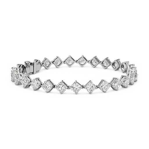 Cushion-Cut Kite Set Diamond Eternity Bracelet in Platinum (14.24 ct. tw.)