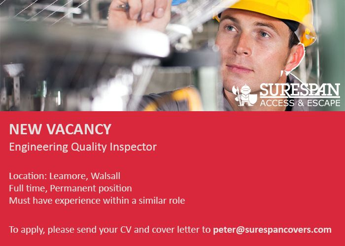 We are recruiting for an Engineering Quality Inspector to work in our Walsall branch. To apply for this position please send your current CV and covering letter to peter@surespancovers.com #Jobs #Vacancy #QualityInspector #JobSearch