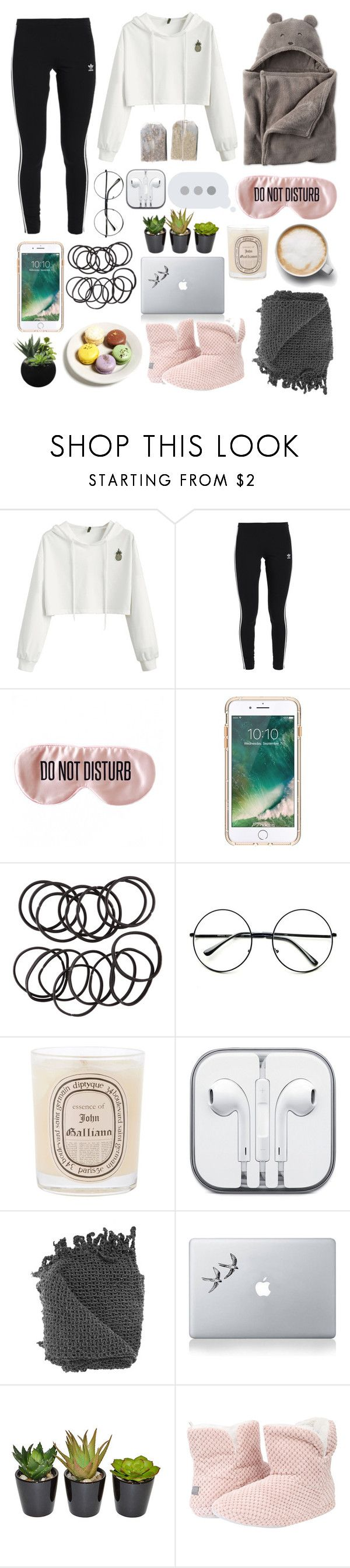 """""""Lazy Sundays"""" by meganjaned ❤ liked on Polyvore featuring adidas Originals, Carter's, BaubleBar, Caffé, Griffin, H&M, Retrò, Diptyque, Vinyl Revolution and The French Bee"""