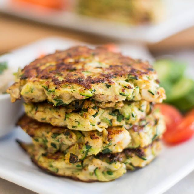 Zucchini & Shrimp Fritters These have a great flavor! I will try to get more moisture out of the zucchini next time, 3 min per side was perfect, everyone loved them, now to find the perfect sauce - try equal parts orange marmalade and honey (1/2 c)