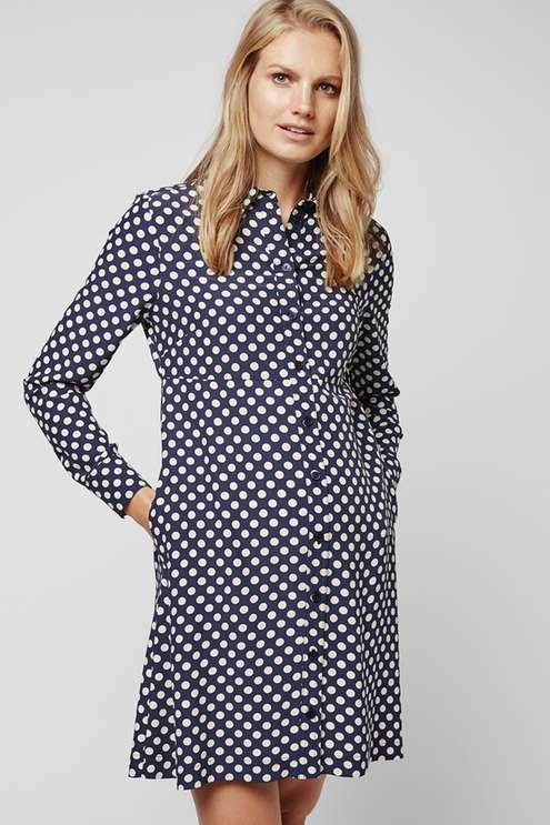 Hit refresh on polka dot prints with this long sleeved shirt dress. With a classic collar and button down detail to cover your growing bump, it features a knee length cut to flatter your silhouette. #Topshop