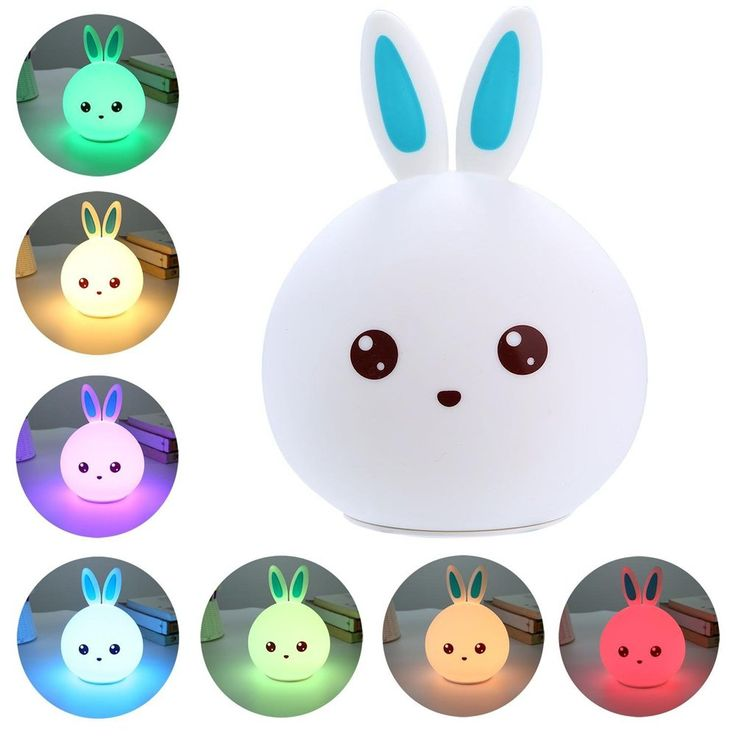 Lavince Happy Rabbit Children Night Light,Multicolor Silicone LED Night Lamp USB Rechargeable Sensitive Tap Control Bedroom Light with Warm White,Single Color and 7-Color Breathing Modes (Blue)