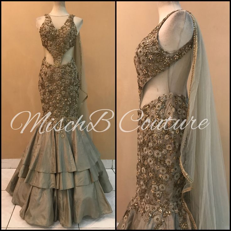 Neutral Layering, Saree gown by MischB Couture