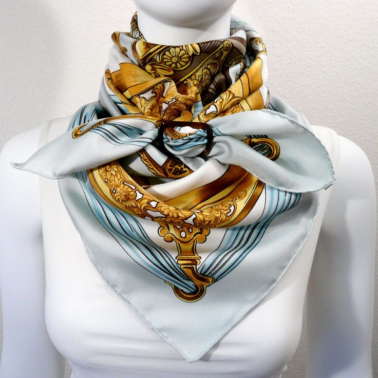 FEATURED Authentic Vintage Hermes Silk Scarf Etriers Light Blue