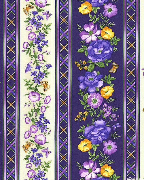VIOLET AND YELLOW BORDER WITH FLOWERS