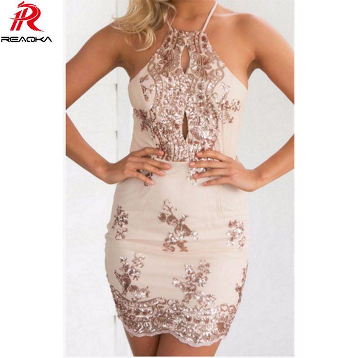 FREE SHIPPING Women Halter Bandage Backless Rose Gold mini dresses Floral JKP249
