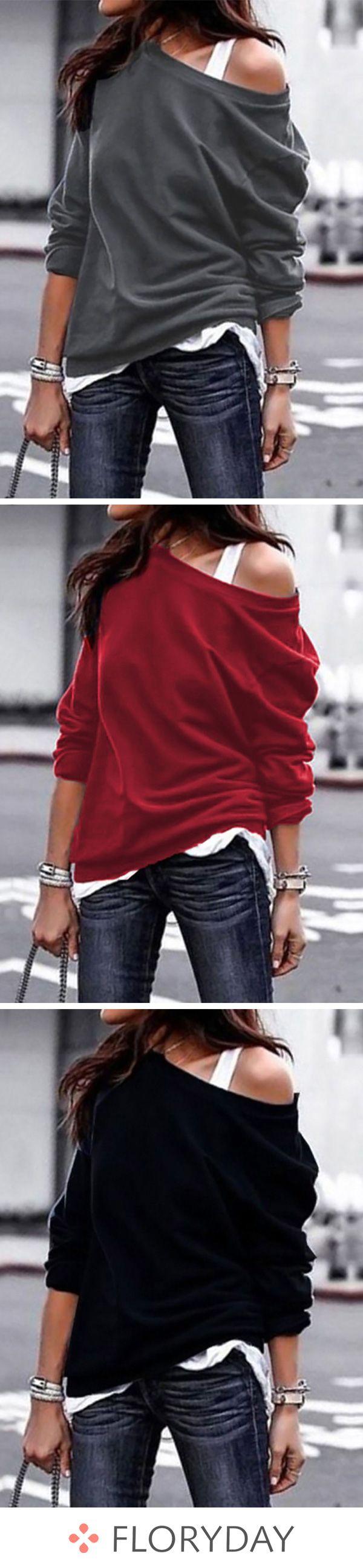 Solid Novelty Oblique Neckline Sweatshirts