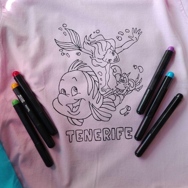 Coloring baby t-shirt hand painted 100% cotton little mermaid disney boy girl custom personalized maglietta sirenetta bambino camiseta di PassionHandMade14 su Etsy