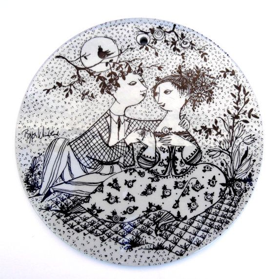 "Vintage Bjorn Wiinblad ""May Harmony"" Collector's Plate: Nymølle, Black and White"